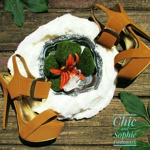 Shoe Republic LA Camel Color Buckle High Heel